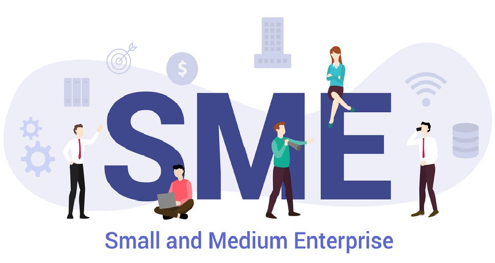 sme small and medium enterprise concept with big word or text and team people with modern flat style - vector illustration